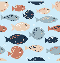 childish seamless pattern with cute fish creative vector image