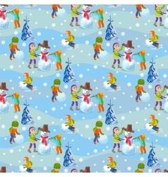 Children make a snowman winter vector