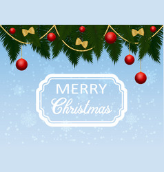 christmas greeting with fir branches and red balls vector image