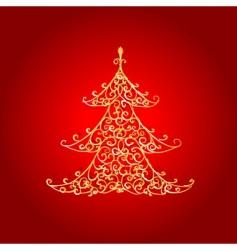 Christmas tree golden ornament vector image