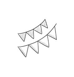 Christmas triangular flags sketch icon vector