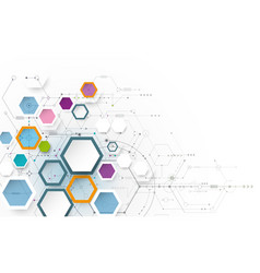 circuit board and 3d paper hexagons 2-16-2017 vector image