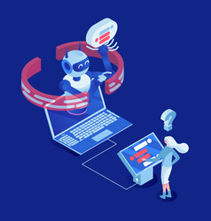 client use chatbot isometric vector image