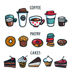 coffee set colorful doodle style set of objects vector image