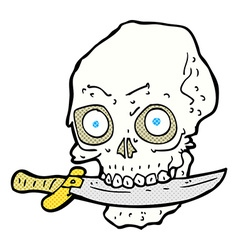 comic cartoon pirate skull with knife in teeth vector image