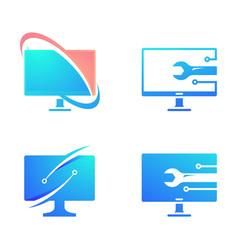 Computer logo icon design vector