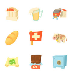 Country switzerland icons set cartoon style vector