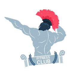 Creative fitness club logo with bodybuilder man vector