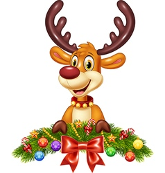 Cute baby deer with Christmas decoration vector image