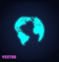 earth globe sign neon light design vector image