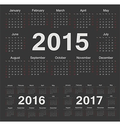 European circle calendars 2015 2016 2017 vector image