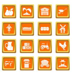 Farm icons set orange vector