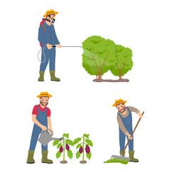 Farming man with sprayer set vector