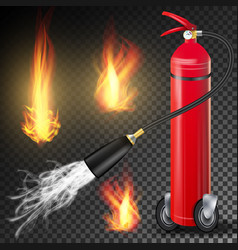 Fire extinguisher burning fire flame and vector
