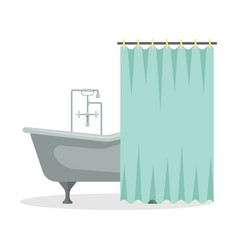 flat a roll-top bath with shower curtain vector image