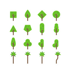 Flat design tree set vector