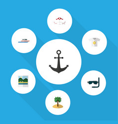 Flat icon beach set of boat ship hook recliner vector