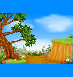 Forest scene with mountain cliff vector