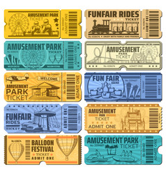 Funfair carnival and amusement park tickets vector