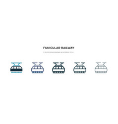 Funicular railway icon in different style two vector