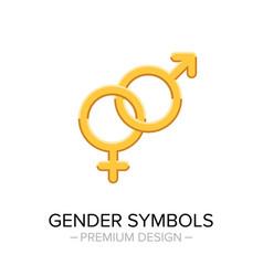 Gender symbols gold icon masculine and feminine vector