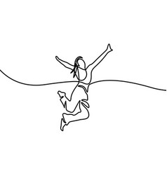 gitl jumping for happy continuous line drawing vector image