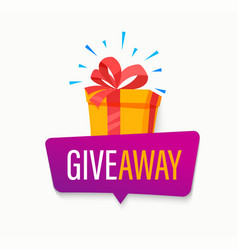 Giveaway bannerwin poster with isolated gift box vector