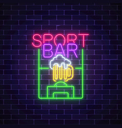 glowing neon sport bar concept on dark brick wall vector image