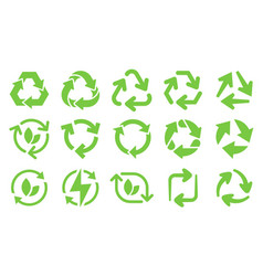 green eco recycle arrows icons reload arrows vector image