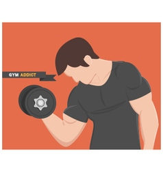 Gym addict fitness muscular man wear black vector