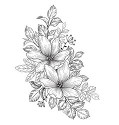hand drawn bunch with flowers vector image