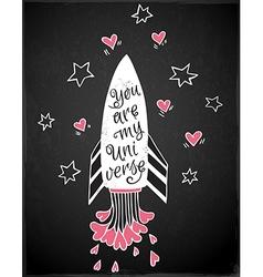 Hand drawn rocket and hearts vector