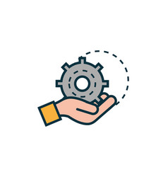 hand with gear work tools engineering icon vector image