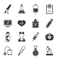 Healthcare Black White Icons Set vector image