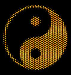 hexagon halftone yin yang icon vector image