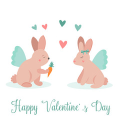 holiday card with funny rabbits in love vector image