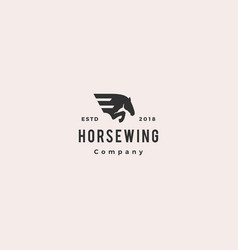 horse wing pegasus logo hipster retro vintage icon vector image