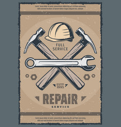 House repair service retro banner of old work tool vector
