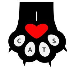 i love cats text big black cat paw print leg foot vector image