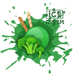 ice cream broccoli ball dessert choose your taste vector image vector image
