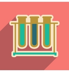 Icon of flasks for analysis in flat style vector