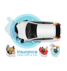 insurance agents assess car accident damage vector image