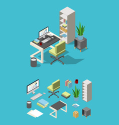 Isometric office workspace with different vector