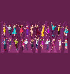Isometry new years party 3d girls dance vector