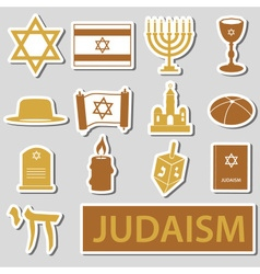 Judaism religion symbols set stickers eps10 vector