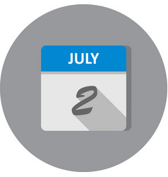 July 2nd date on a single day calendar vector