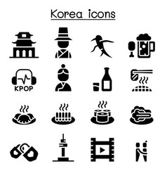 Korea icon set vector