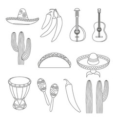 Line art black and white 12 mexican elements vector