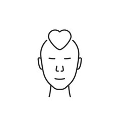 linear human face with simple heart vector image