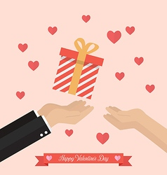 Man giving gift box to a woman vector image